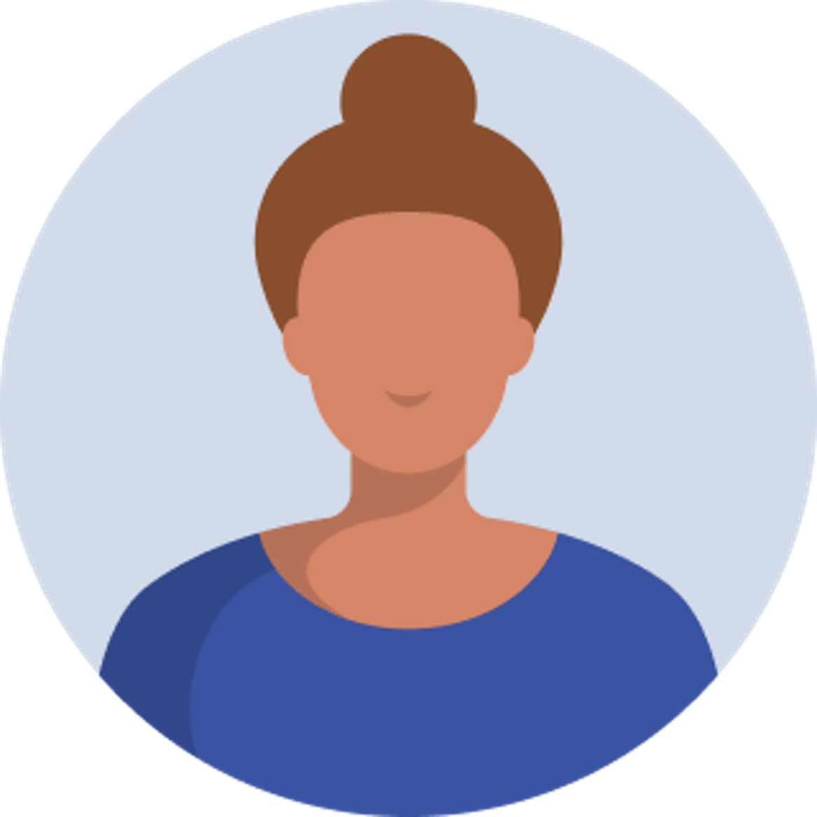cartoon image of woman with their hair in a bun