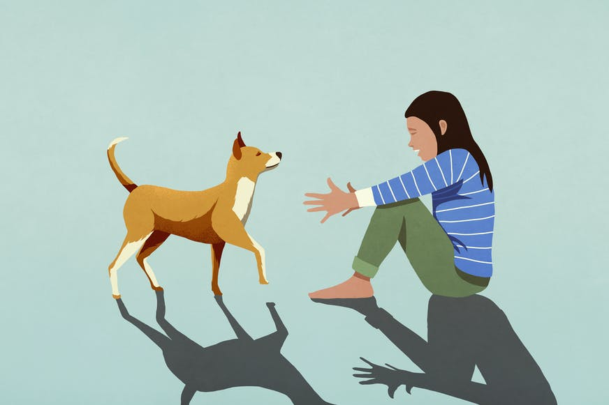 Animated woman with dog