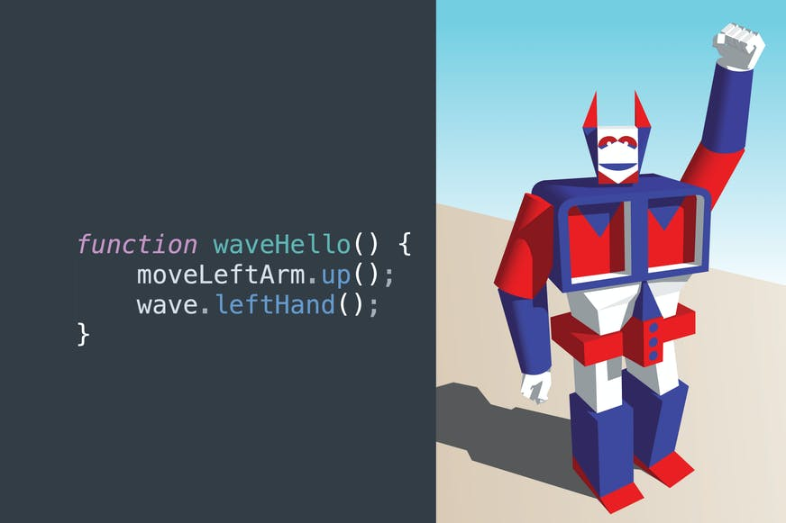 Example of JavaScript code moving Optimus Prime game character