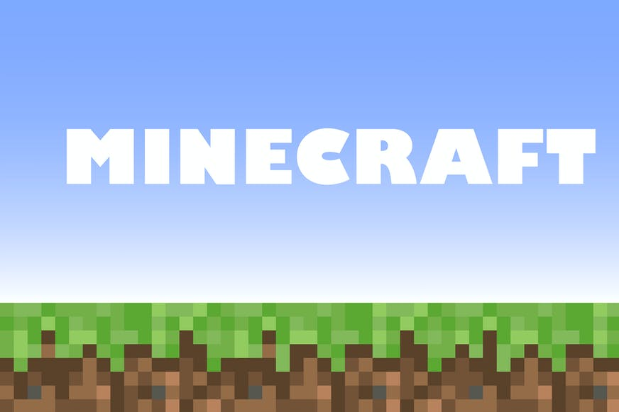 Minecraft logo and game screen