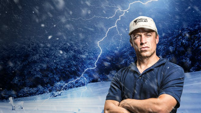 Reed timmer in front of lightning