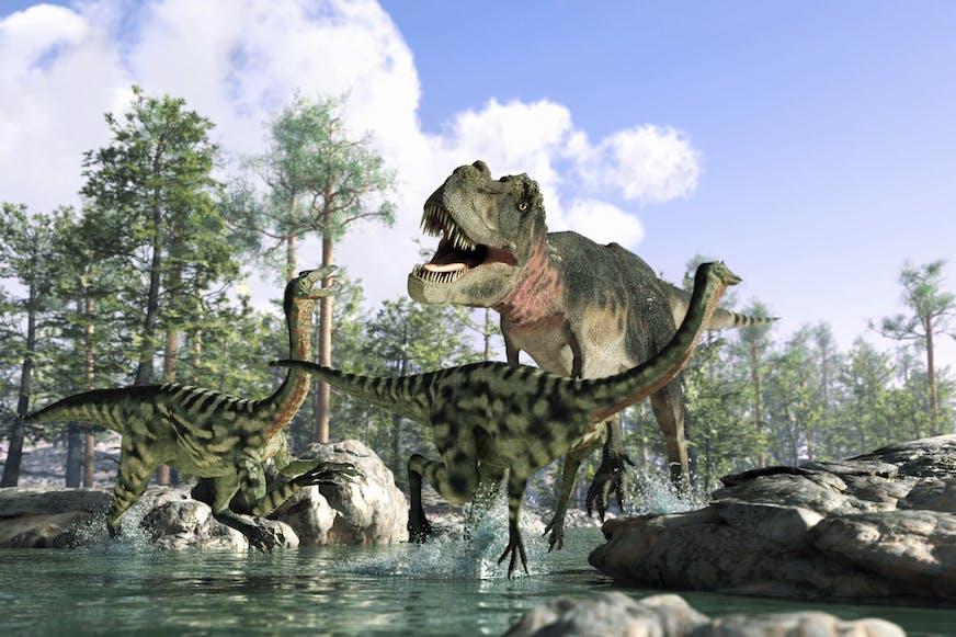 T-rex chasing raptors